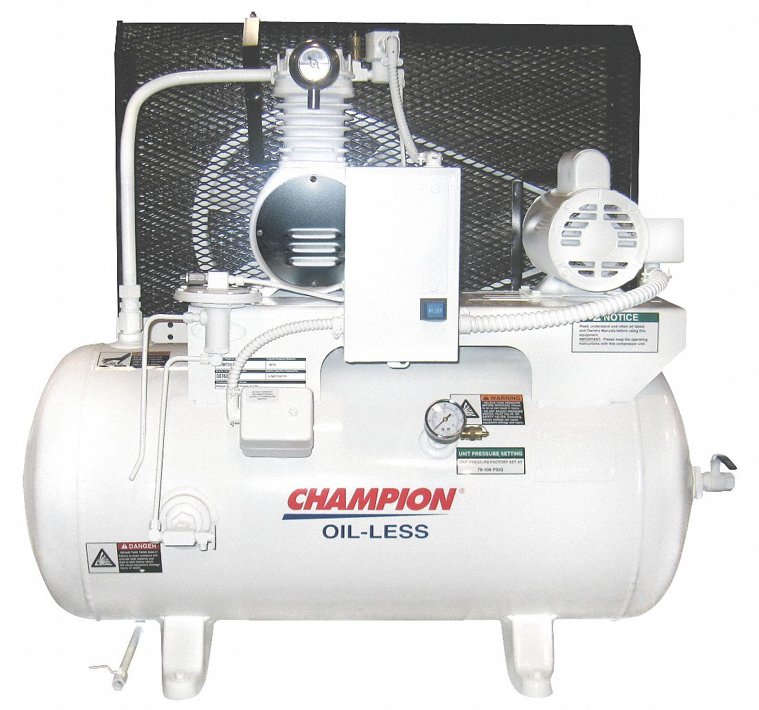 CHAMPION 1 Phase - Electrical Horizontal Tank Mounted 1.00HP - Air  Compressor Stationary Air Compressor, 30 g - 6CJH9|CHSMOA15 - Grainger