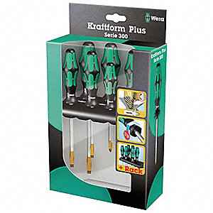 Screwdriver Set,Slotted/Phillips,6 Pc