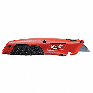 Utility Knife,6-3/4 In.,Black/Red