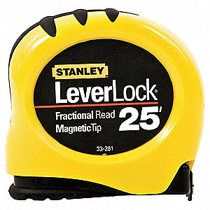 25 ft. Steel SAE Tape Measure, Black/Yellow