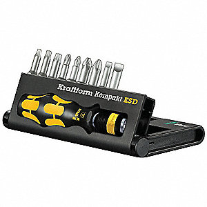 "3 1/2"" 9-in-1 Electronics ESD Multi-Bit Screwdriver Set&#x3b; Number of Pieces: 10"