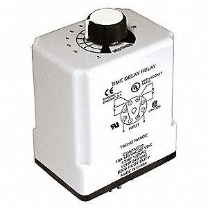 Timer Relay, 120VAC Coil Volts, 10A Contact Amp Rating (Resistive), Contact Form: DPDT