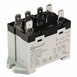 Enclosed Power Relay, 6 Pins, 24VAC Coil Volts, 25A @ 277VAC/30VDC Contact Amp Rating (Resistive)