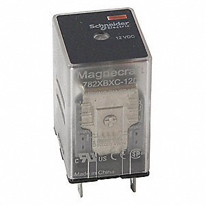 Plug-In Relay, 8 Pins, Square Base Type, 15A @ 120VAC, 12A @ 277VAC/28VDC Contact Rating, 12VDC Coil