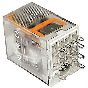 240VAC, 14-Pin Square Base General Purpose Plug-In Relay; AC Contact Rating: 10A @ 120V, 8A @ 277V
