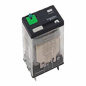 240VAC, 14-Pin Square Base General Purpose Plug-In Relay&#x3b; AC Contact Rating: 15A @ 120V, 12A @ 277V