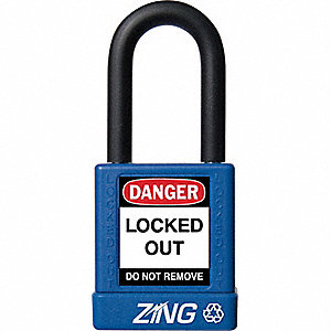 Blue Lockout Padlock, Different Key Type, Master Keyed: No, Aluminum Body Material
