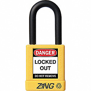 Yellow Lockout Padlock, Different Key Type, Master Keyed: No, Aluminum Body Material