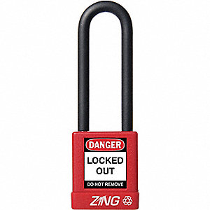 "Lockout Padlock,KA,Red,1-3/4""H"