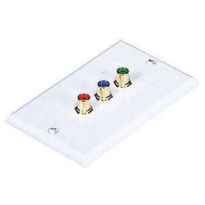 White Wall Plate, Red, Green, Blue Connectors Audio/Video Wall Plate, Plastic