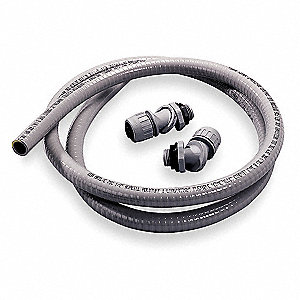 Liquid-Tight Conduit,1/2 In x 6 ft,Gray