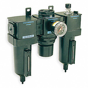 "9.32"" x 9.36"" Filter/Regulator/Lubricator with 0 to 125 psi Adjustment Range"