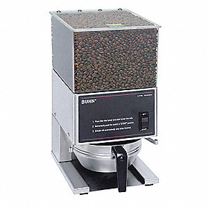 Portion Control Coffee Grinder, Two Hopper, 6 lb./Hopper, Stainless Steel, Stainless Steel