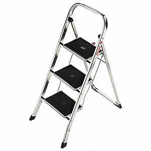 "Aluminum Folding Step, 41"" Overall Height, 330 lb. Load Capacity, Number of Steps: 3"