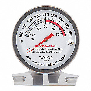 "2-3/4"" Analog Mechanical Food Service Thermometer with 100° to 180° Temp. Range (F)"