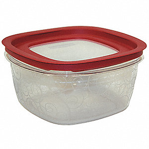 "9-7/16"" x 9-7/16"" x 4-7/8"" Polycarbonate  (Tritan  plastic ) Food Storage Container, Clear Base with"