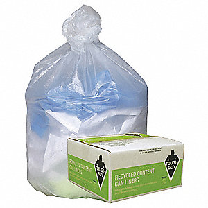 33 to 39 gal. Clear Trash Can Liner, Coreless Roll, 250 PK