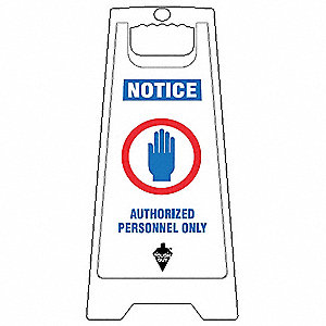 Floor Sign, White, 24 In., 2 Sided