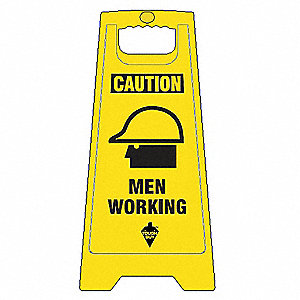 Flr Safety Sign, Caution Men Working,Eng
