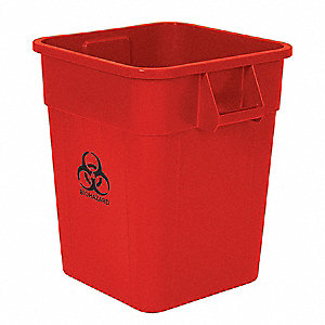 Biohazard Waste Container,32 Gal., Red
