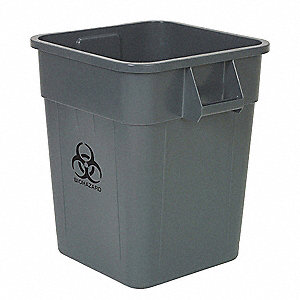 "Biohazard Waste Container, 48 gal., Gray, Gray, 28-3/4"" x 23-1/2"" x 23-1/2"""