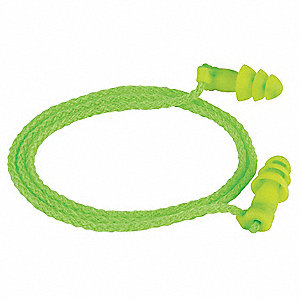 27dB Reusable Flanged Shape Ear Plugs&#x3b; Corded, Green, Universal