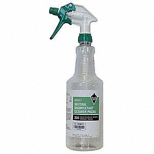 Green/White/Clear Plastic Preprinted Trigger Spray Bottle, 32 oz., 12 PK
