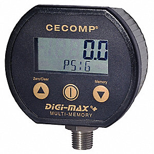 Digital Gauge,30 InHg Vac to 100 PSIG