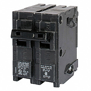 Plug In Circuit Breaker, Q, Number of Poles 2, 25 Amps, 120/240VAC, Standard