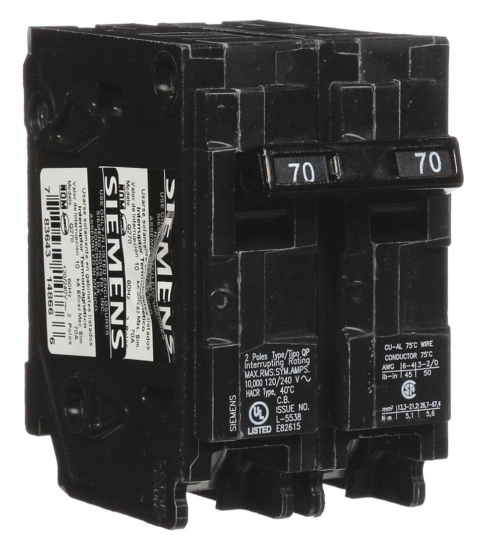 SIEMENS Plug In Circuit Breaker, Q, Number of Poles 2, 70 Amps, 120 ...