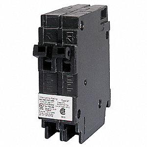 Plug In Circuit Breaker, Q, Number of Poles 1, 15/15 Amps, 120VAC, Duplex