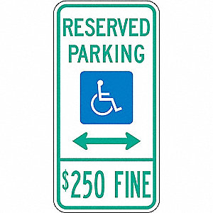 PARKING SIGN,24 X 12IN,GRN AND BL/W