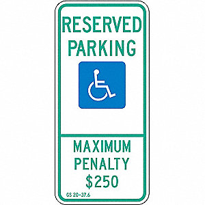 PARKING SIGN,26 X 12IN,GRN AND BL/W