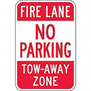 FIRE LANE SIGN,18 X 12IN,R/WHT,ENG,