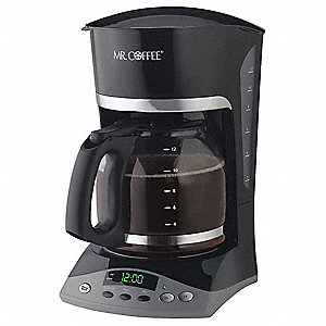 12 Cup Plastic/Glass Coffee Maker, Black