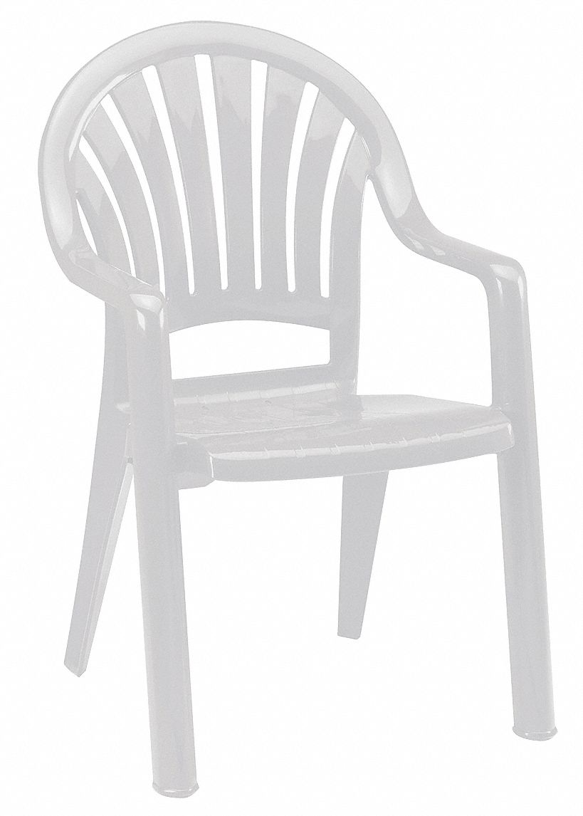 Solid One-Piece Molded Resin Armchair, White, 23 1/2 in Width, 23 1/2 in Depth , 36 in Height