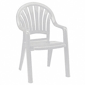 "23-1/2"" x 23-1/2"" x 36"" Solid One Piece Molded Resin Armchair with 300 lb. Weight Capacity, White&#x3b; R"