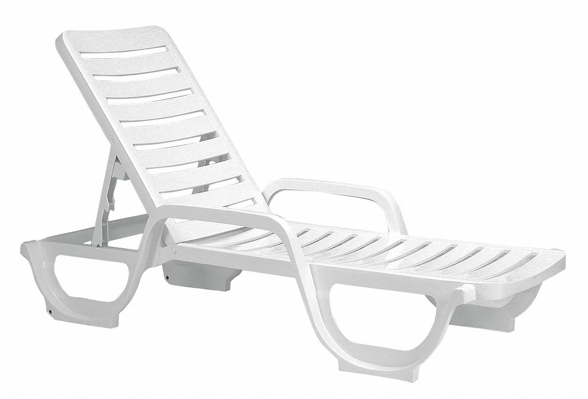 Resin Chaise Lounge, White, 27 in Width, 75 in Depth , 12 in Height