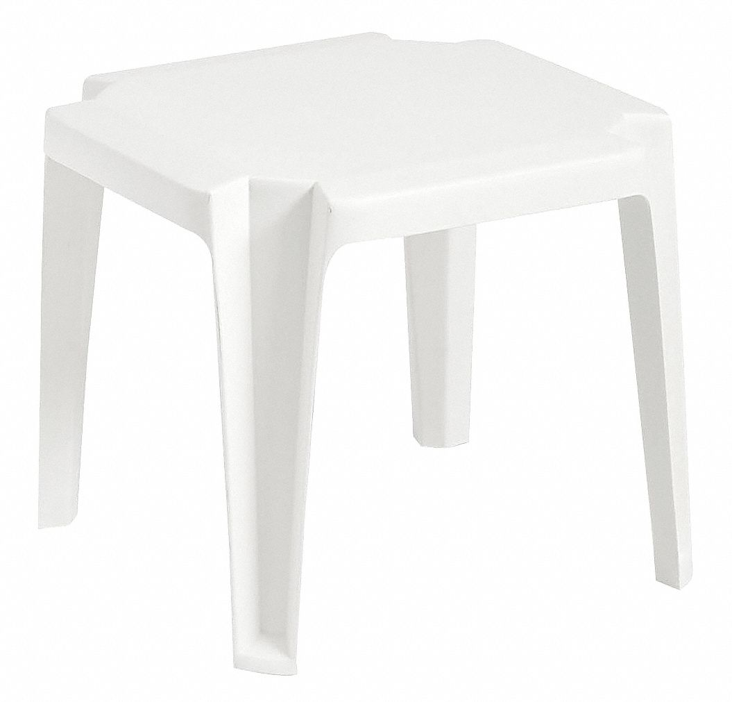 Solid One-Piece Molded Resin Side Table, White, 17 in Width, 17 in Depth , 15 in Height