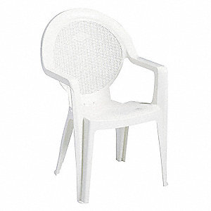 "20-1/2"" x 17"" x 35"" Resin Armchair with 300 lb. Weight Capacity, White&#x3b; Resistant To Discoloration a"