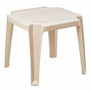 "17"" x 17"" x 15"" Solid One-Piece Molded Resin Side Table, Sandstone&#x3b; Resistant To Discoloration and F"