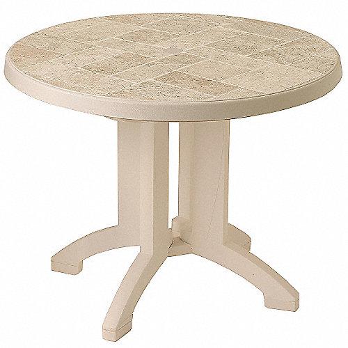 Grosfillex mesa plegable redondo arena mobiliario para for Mobiliario de patio