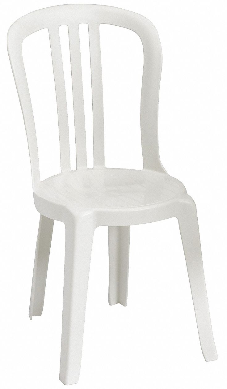 Resin Bistro Sidechair, White, 17 in Width, 20 in Depth , 35 in Height