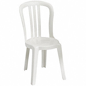 "17"" x 20"" x 35"" Resin Bistro Sidechair with 300 lb. Weight Capacity, White&#x3b; Resistant To Color Fadin"