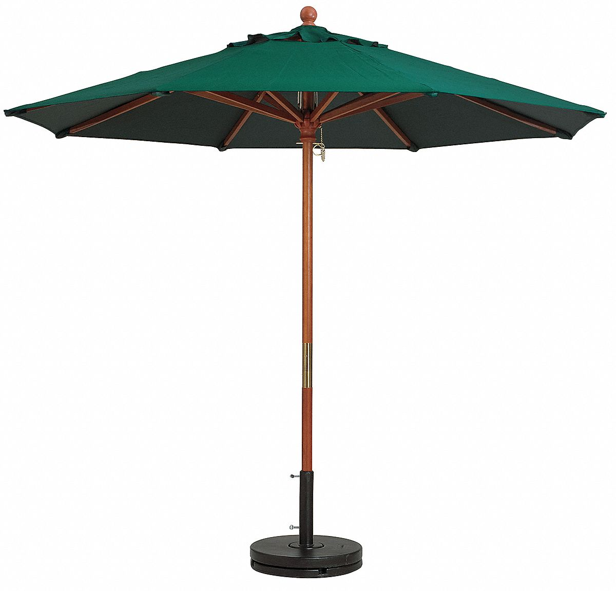 7ft Wooden Market Umbrella,  Forest Green