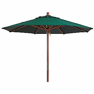 9ft Wooden Market Umbrella, forest green