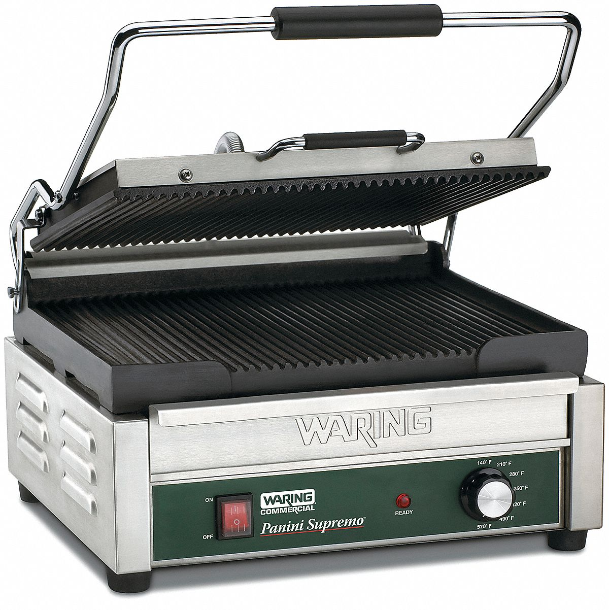 "17 1/2 in"" x 16 in"" x 9 1/2 in"" Ribbed Plates Large Panini Grill"
