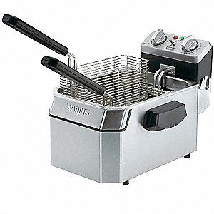 "13"" x 17"" x 12"" 10 lb. Stainless Steel Electric Deep Fryer, Silver"
