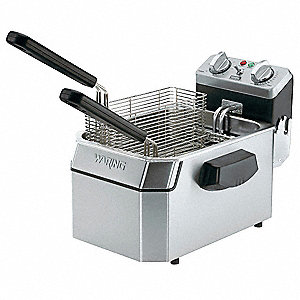 "14 1/4"" x 18 1/2"" x 12"" 15 lb. Stainless Steel Electric Deep Fryer, Silver"