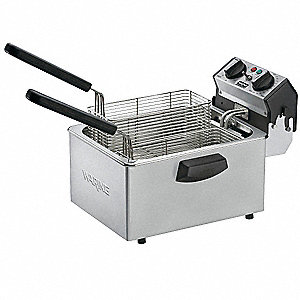 "16 1/2"" x 12 1/4"" x 11"" 8.5 lb. Stainless Steel Electric Deep Fryer, Silver"